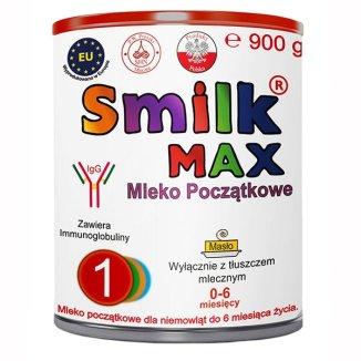 Smilk Max 1, mleko początkowe dla niemowląt, 0-6 miesięcy, 900 g - zdjęcie produktu