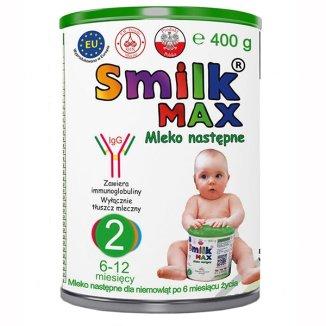 Smilk Max 2, mleko następne, dla niemowląt w wieku 6-12 miesięcy, 400 g - zdjęcie produktu