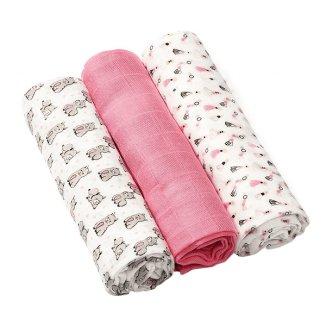 BabyOno, pieluszka bambusowa, różowa, 70 x 70 cm, 3 sztuki - zdjęcie produktu