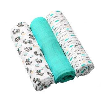 BabyOno, pieluszka bambusowa, 70cm x 70cm, turkusowa, 3 sztuki - zdjęcie produktu