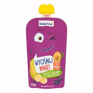 BebiPrima, Deserek w tubce, gruszka, śliwka, banan, czarna porzeczka, powyżej 1 roku życia, 120 g - zdjęcie produktu