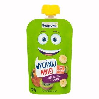 BebiPrima, Deserek w tubce, jabłko, kiwi & banan, powyżej 1 roku życia, 120 g - zdjęcie produktu