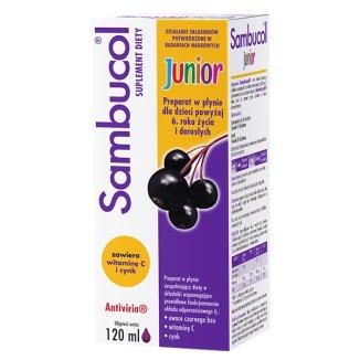 Sambucol Junior, płyn dla dzieci po 6 roku życia i dorosłych, 120 ml - zdjęcie produktu