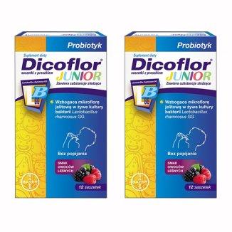 Dicoflor Junior, dla dzieci od 3 roku i dorosłych, smak owoców leśnych, 2 x 12 saszetek - zdjęcie produktu