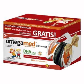 Omegamed Odporność, DHA z alg, powyżej 5 roku, syrop w kapsułkach do żucia, smak pomarańczowy, 30 kapsułek + słuchawki w prezencie - zdjęcie produktu