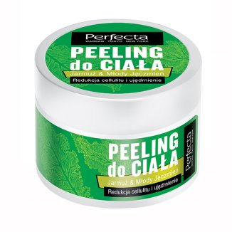 DAX Perfecta, peeling do ciała, jarmuż & młody jęczmień, redukcja cellulitu i ujędrnienie, 225 g - zdjęcie produktu