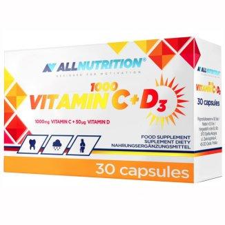 Allnutrition Vitamin C 1000 + D3, witamina C 1000 mg + witamina D 50 µg, 30 kapsułek - zdjęcie produktu