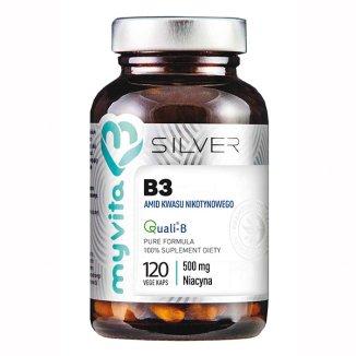 MyVita Silver, Witamina B3, amid kwasu nikotynowego, 120 kapsułek - zdjęcie produktu