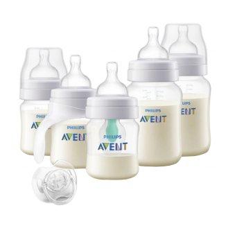 Avent, zestaw butelek antykolkowych z nakładką AirFree, butelka + kubek treningowy + nakładka + smoczek, SCD808/ 01 - zdjęcie produktu