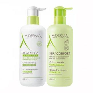 A-derma Xera-Mega Confort, krem odżywczy, 400 ml + krem do mycia, 400 ml - zdjęcie produktu