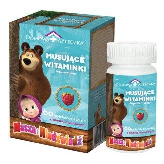 Musujące Witaminki Masza i Niedźwiedź, smak malinowy, od 3 lat, 60 tabletek do ssania - zdjęcie produktu