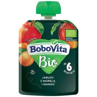 BoboVita Bio Deser w tubce, jabłko z morelą i mango, po 6 miesiącu, 80 g - zdjęcie produktu