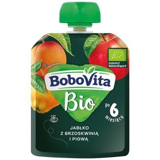 BoboVita Bio Deser w tubce, jabłko z brzoskwinią i pigwą, po 6 miesiącu, 80 g - zdjęcie produktu