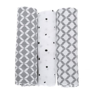 Motherhood, pieluszki bawełniane 70 x 80 cm, Classics szare, 3 sztuki - zdjęcie produktu