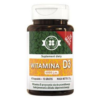 AMC Pharma, Witamina D3 4000jm, 60 kapsułek - zdjęcie produktu