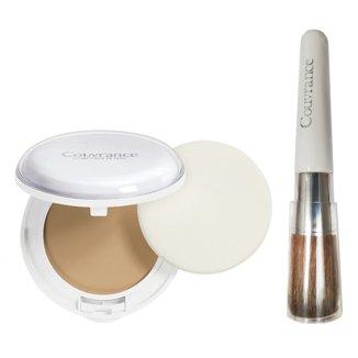 Avene Couvrance Comfort, podkład kremowy w kompakcie, nr 01, porcelanowy, SPF30, 10 g + dodatkowo pędzel do makijażu, 1 sztuka - zdjęcie produktu