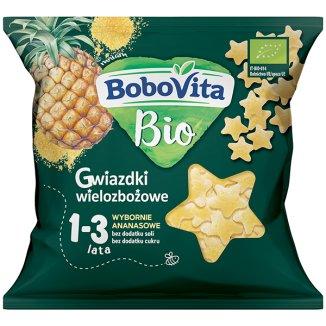 BoboVita Bio Gwiazdki wielozbożowe, wybornie ananasowe, 1-3 lata, 20 g - zdjęcie produktu