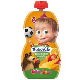 BoboVita Masza i Niedźwiedź Deser w tubce, jabłko z mango i pomarańczą, po 6 miesiącu, 100 g - zdjęcie produktu