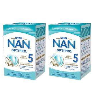 Zestaw Nestle NAN Optipro 5, mleko modyfikowan Junior dla dzieci po 2,5 roku, 2 x 800 g - zdjęcie produktu