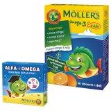 Tran Moller's Omega-3 Rybki, pomarańczowo-cytrynowe, 36 sztuk + dodatkowo Alfa i Omega, rodzinna gra w pary, 1 sztuka - miniaturka zdjęcia produktu