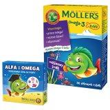 Tran Moller's Omega-3 Rybki, smak malinowy, 36 sztuk + dodatkowo Alfa i Omega, rodzinna gra w pary, 1 sztuka - miniaturka zdjęcia produktu
