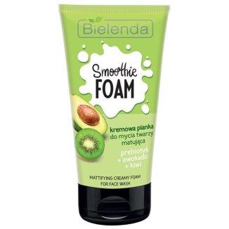 Bielenda Smoothie Foam, kremowa pianka do mycia twarzy, matująca, prebiotyk, awokado, kiwi, 135 g - zdjęcie produktu