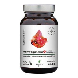 Aura Herbals, Ashwaganda KSM66, 500 mg, 30 kapsułek wegańskich - zdjęcie produktu