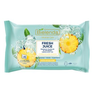 Bielenda Fresh Juice, chusteczki micelarne do demakijażu twarzy i oczu, rozświetlające, ananas, 20 sztuk - zdjęcie produktu