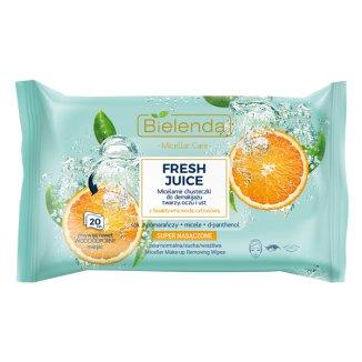 Bielenda Fresh Juice, chusteczki micelarne do demakijażu twarzy i oczu, nawilżające, pomarańcza, 20 sztuk - zdjęcie produktu