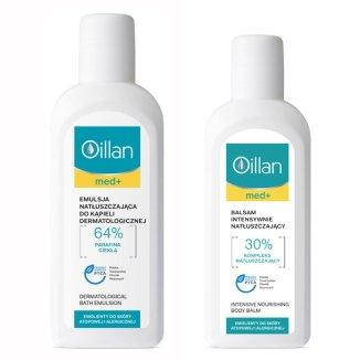 Zestaw Oillan Med +, emulsja natłuszczająca do kąpieli, powyżej 1 miesiąca, 500 ml + balsam intensywnie natłuszczający, 400 ml - zdjęcie produktu