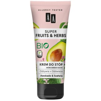 AA Super Fruits & Herbs, krem do stóp, awokado i szałwia, 75 ml - zdjęcie produktu