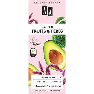 AA Super Fruits & Herbs, krem pod oczy nawilżenie i jędrność, awokado i amarantus, 15 ml - zdjęcie produktu