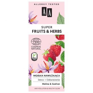 AA Super Fruits & Herbs, mgiełka nawilżająca, malina & szafran, 50 ml - zdjęcie produktu