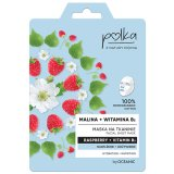 Polka, maska na tkaninie Malina + witamina B3, nawilżenie + odżywienie, 23 ml - miniaturka zdjęcia produktu