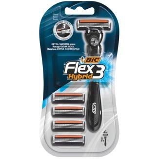 BIC Flex 3 Hybrid, maszynka do golenia trzyostrzowa, uchwyt + 4 wkłady - zdjęcie produktu