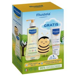 Mustela Bebe Enfant, olejek myjący, od urodzenia, skóra sucha, 500 ml + dodatkowo krem odżywczy z Cold Cream, od urodzenia, 40 ml - zdjęcie produktu