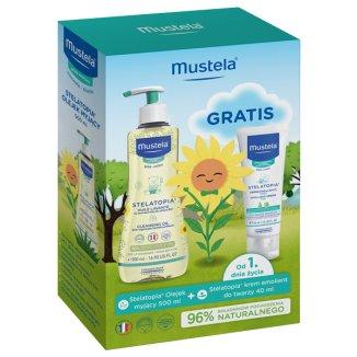 Mustela Stelatopia, olejek myjący, od urodzenia, 500 ml + dodatkowo krem emolientowy do twarzy, skóra atopowa, 40 ml  - zdjęcie produktu