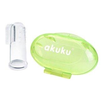 Akuku, silikonowa szczoteczka na palec, zielony, A0264, 1 sztuka - zdjęcie produktu