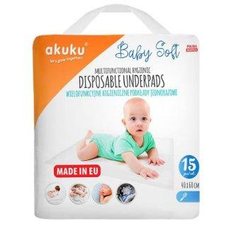 Akuku Baby Soft, podkłady higieniczne jednorazowe, 40 x 60 cm, A0500, 15 sztuk - zdjęcie produktu