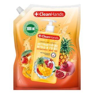 CleanHands, mydło antybakteryjne w płynie, owoce tropikalne, zapas, 1000 ml - zdjęcie produktu