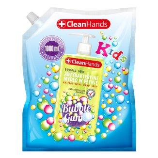 CleanHands, mydło antybakteryjne w płynie, guma balonowa, zapas, 1000 ml - zdjęcie produktu