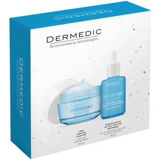 Zestaw Dermedic Hydrain 3 Hialuro, serum nawadniające, 30 ml + krem-żel ultranawilżający, skóra sucha, 50 g - zdjęcie produktu