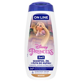 On Line Kids, szampon, żel, płyn do kąpieli 3w1, powyżej 1 roku, Princess, 400 ml - zdjęcie produktu