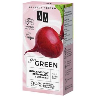 AA Go Green, energetyzujący krem-maska do twarzy, z burakiem, 50 ml - zdjęcie produktu