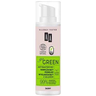 AA Go Green, nawilżający podkład wygładzający z selerem, antybakteryjny, jasny, 30 ml - zdjęcie produktu