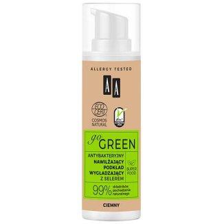 AA Go Green, nawilżający podkład wygładzający z selerem, antybakteryjny, ciemny, 30 ml - zdjęcie produktu