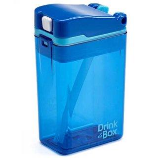 Drink in the Box, nowoczesny bidon ze słomką, niebieski, 240 ml - zdjęcie produktu
