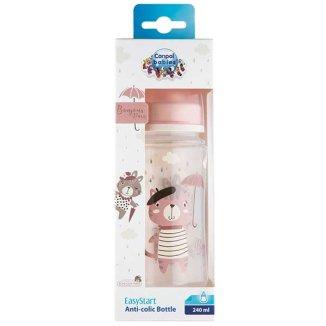Canpol Babies Easy Start, butelka antykolkowa, szeroka, Bonjur Paris, różowa, od 3 miesiąca, 240 ml - zdjęcie produktu