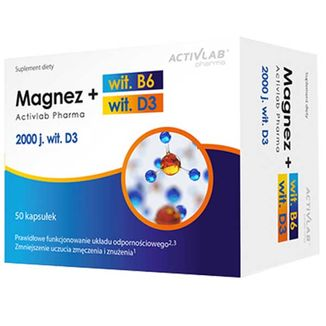 Activlab Pharma Magnez B6 + D3, 50 kapsułek - zdjęcie produktu