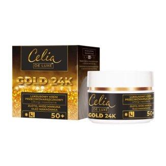 Celia De Luxe Gold 24K 50+, luksusowy krem przeciwzmarszczkowy, złoto, miód manuka, olej makadamia, 50 ml - zdjęcie produktu